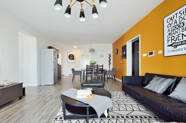 20万半包三居室装修真皮沙发图片