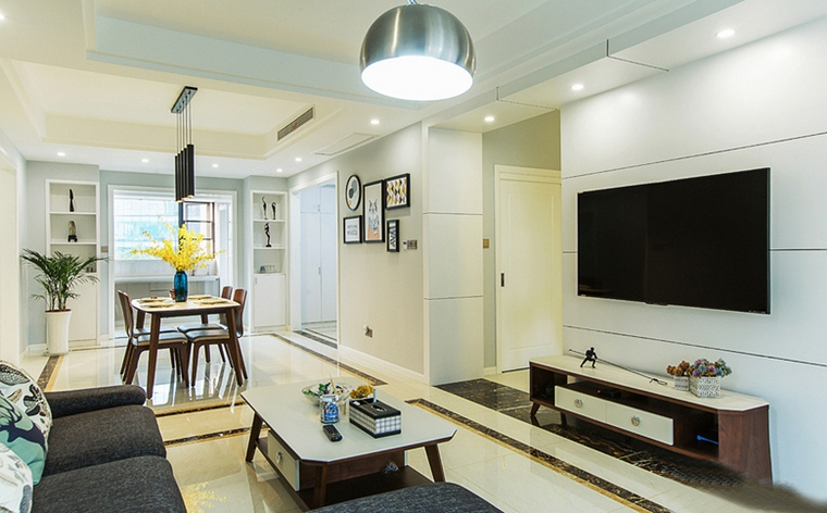 现代简约风格公寓装修客厅效果图