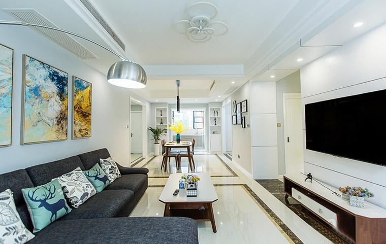 现代简约风格公寓装修简约客厅装潢图