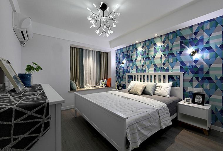 90平美式风格装修卧室背景墙