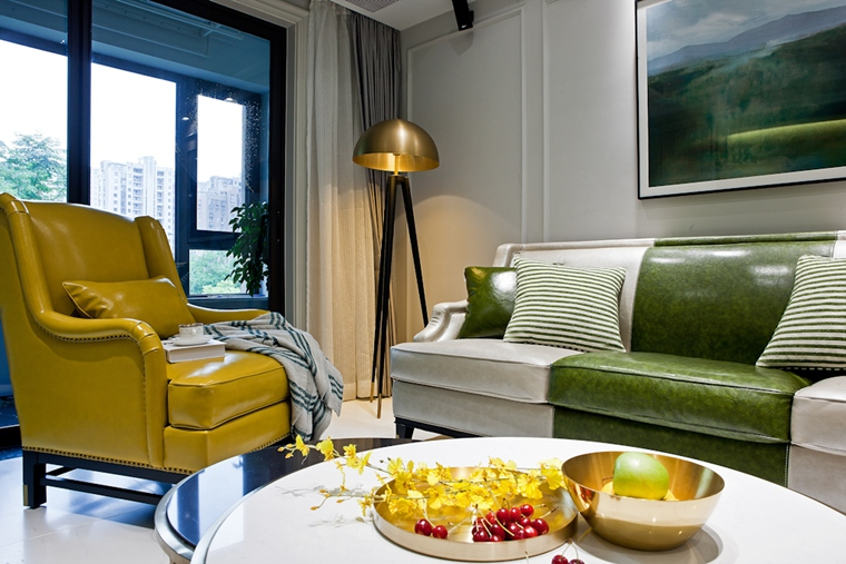 120平混搭风格装修单人沙发图片