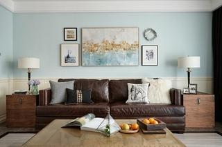 120平两居室复古装修客厅效果图