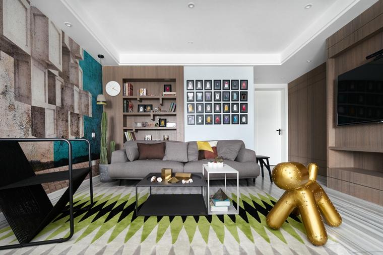 130平简约风格装修客厅效果图