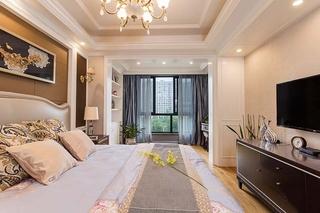 130平美式风格三居室装修主卧效果图
