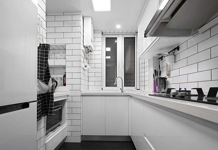 黑白调北欧风格装修厨房效果图