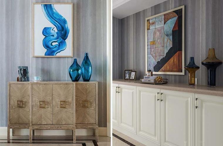 120平美式风格装修客厅收纳柜