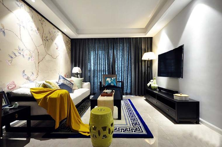 100平新中式风格装修客厅效果图