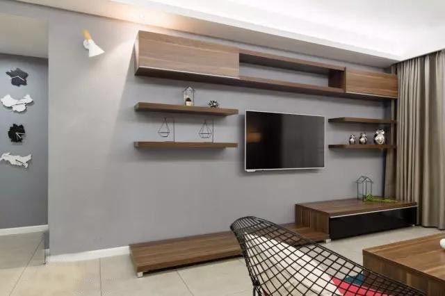 收纳型电视背景墙装修平面图
