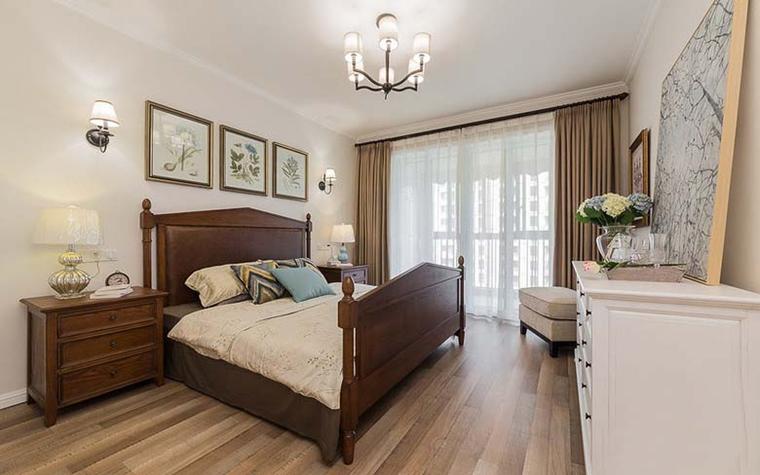 120平美式风格装修卧室效果图
