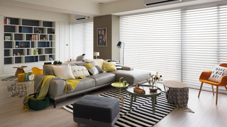北欧风格三居室装修客厅窗帘