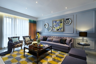 简约美式风格装修沙发背景墙
