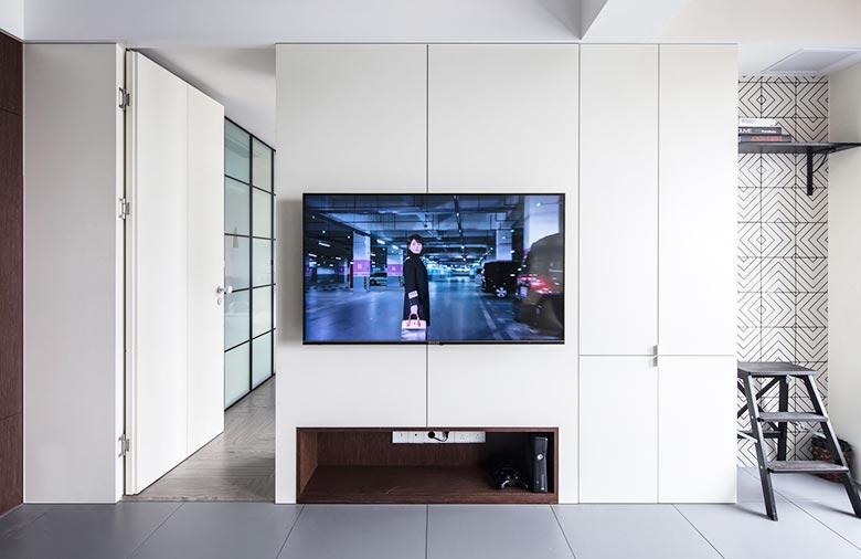 83㎡现代风三居室电视背景墙装饰图