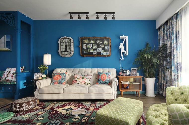 东南亚风格装修沙发背景墙图片