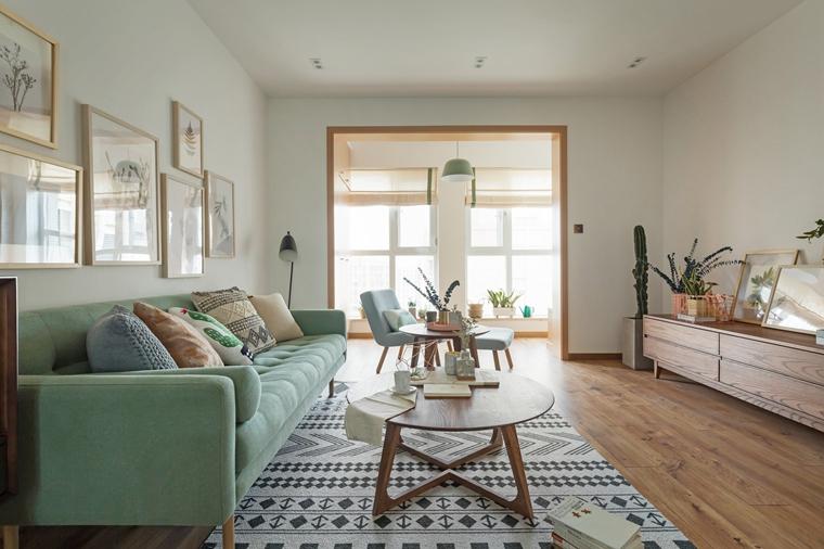 现代原木风三居室装修客厅效果图