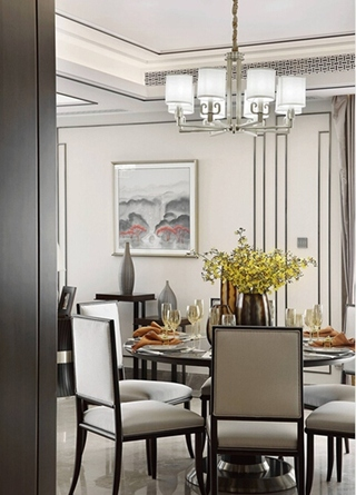 新中式风格大户型装修餐厅效果图