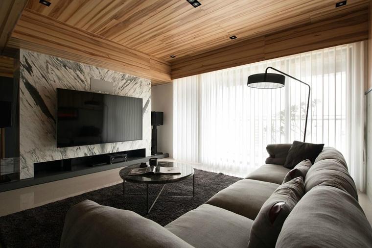 工业风大平层设计客厅窗帘图片