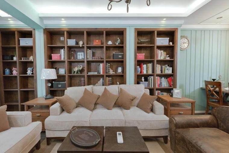 80平清新美式风格装修客厅书柜图片