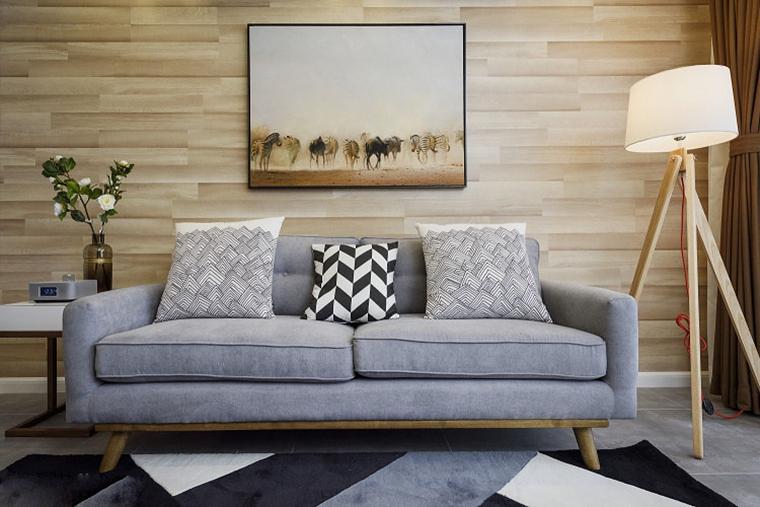 80平北欧风格装修布艺沙发图片