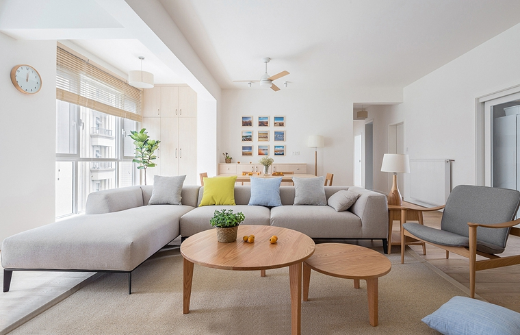 日式风格三居室装修布艺沙发图片
