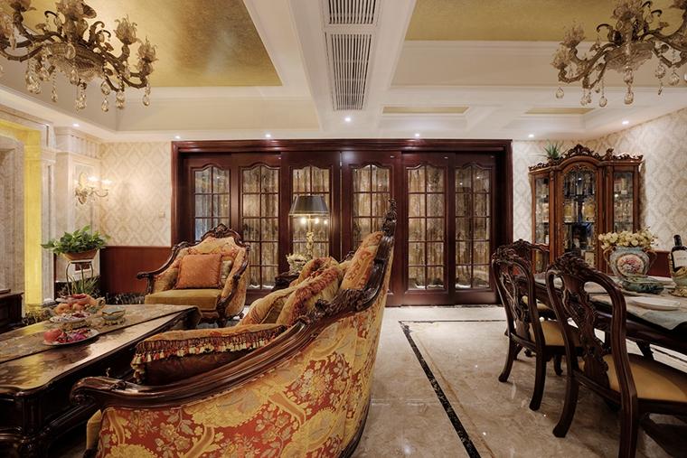 浓墨重彩的欧式风格装修餐厅效果图
