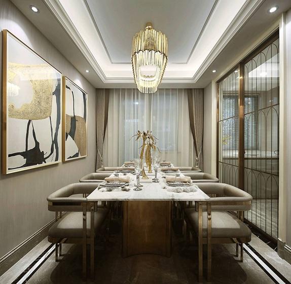 90平法式样板房装修餐厅效果图