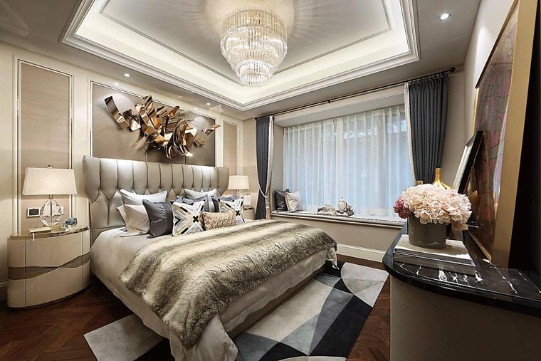 90平法式样板房装修卧室效果图