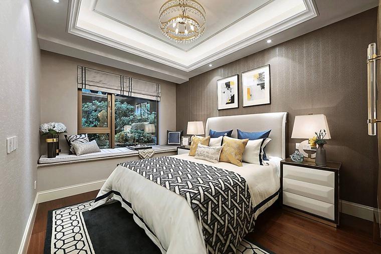 90平法式样板房装修次卧装潢图