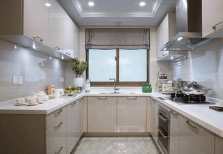 120平三居室样板房装修厨房效果图