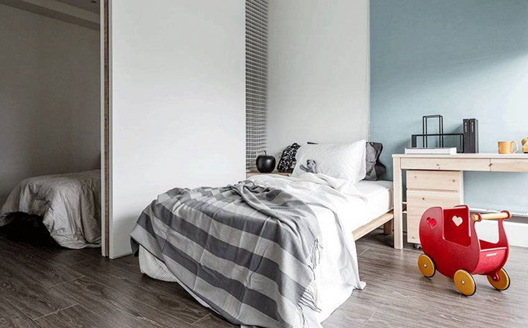台式风格两居室装修卧室效果图