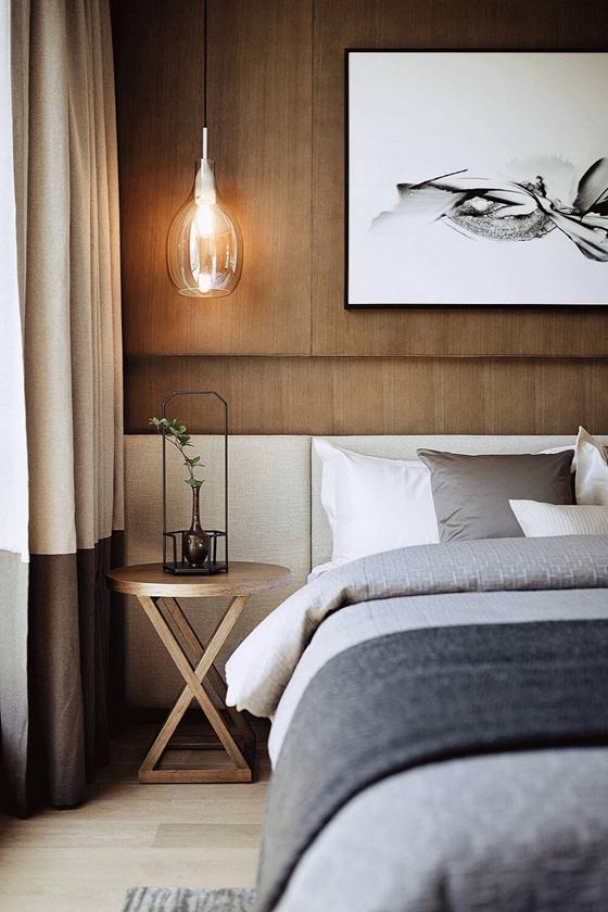 150平新中式风格装修卧室壁灯图片