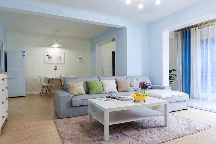 90平宜家风格装修蓝色客厅装潢图