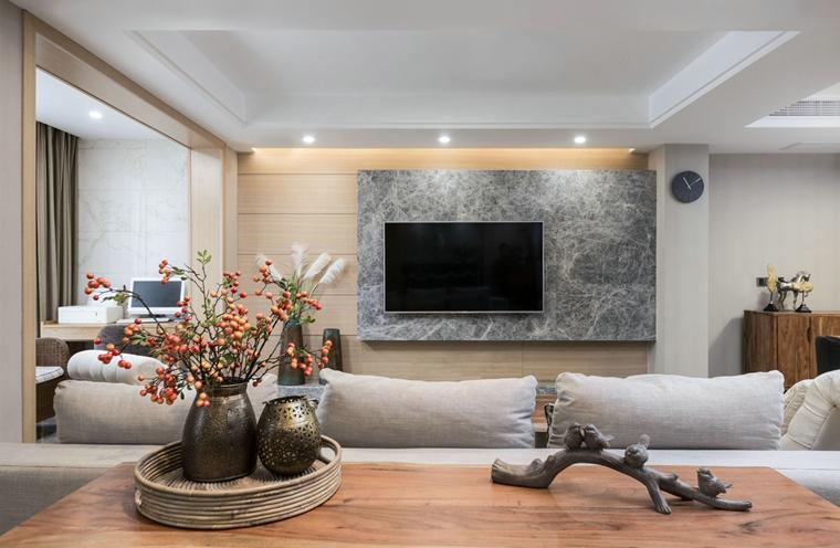 简约风格三居室装修电视背景墙效果图
