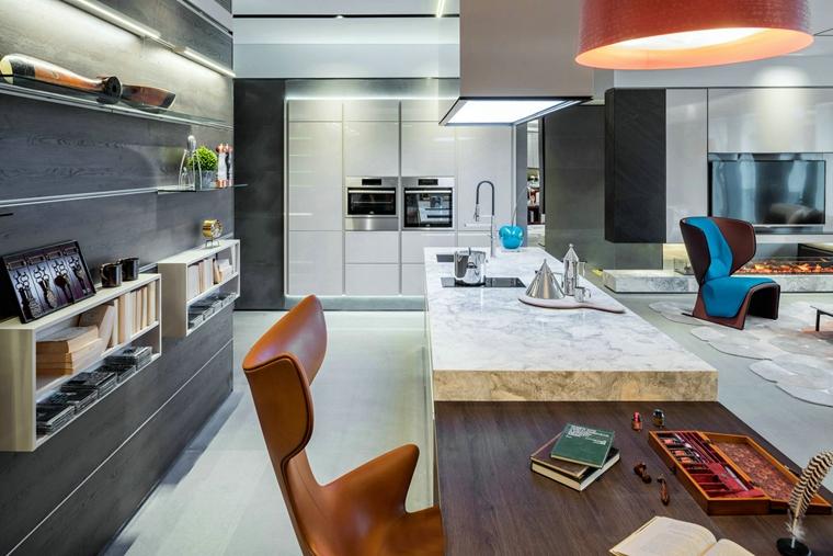 三居室公寓装修工作台效果图