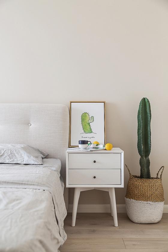 80平北欧风格装修床头柜图片