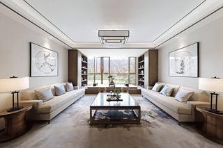 新中式装修让家更温馨客厅效果图
