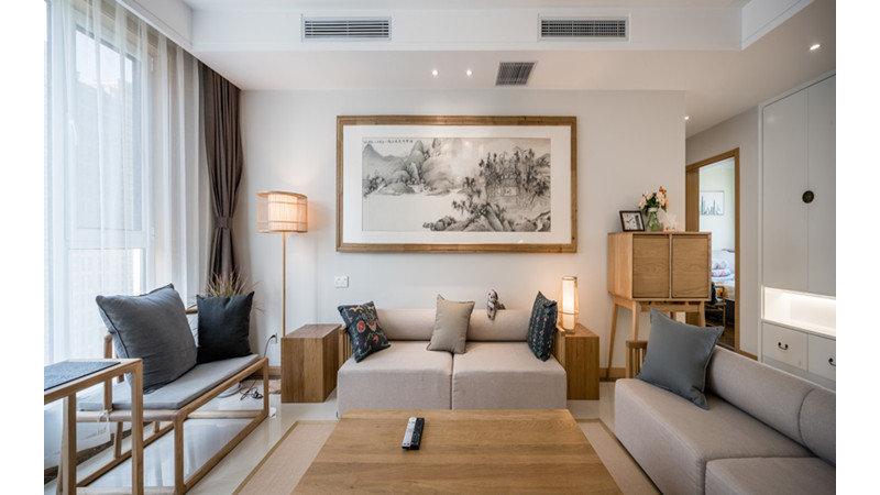 5-10万100平米中式三居室装修效果图,中式简约风格图图片