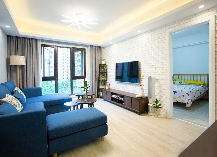 90平蓝调小户型客厅吊灯效果图