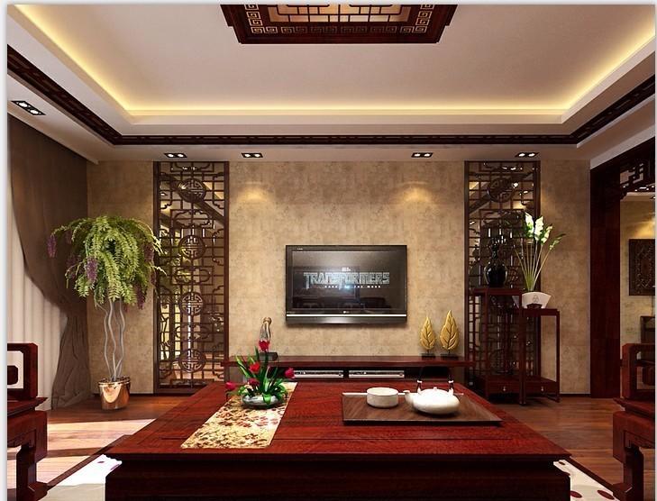 餐厅吊顶运用中式花格,线条感极强图片