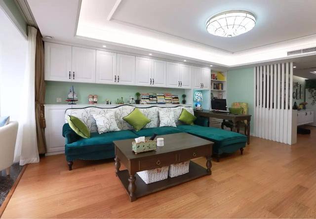 曬曬福州肖女士的新家,沙發后設計柜子,厲害了!圖片