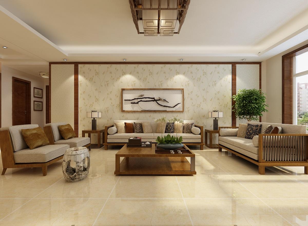 新中式风格大户型客厅装修效果图
