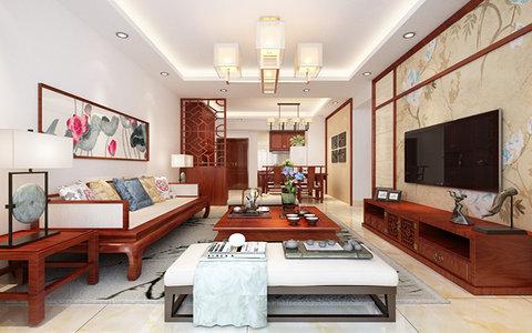 5-10万100平米中式三居室装修效果图,时代名城装修图图片