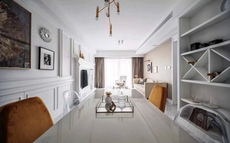 80平米美式二居室装修效果图,轻奢美式风格装修案例图图片
