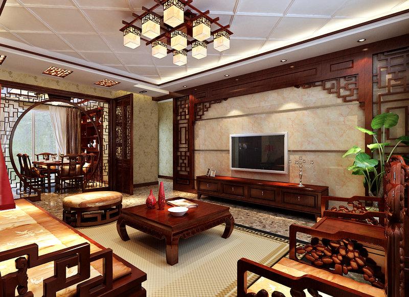 100平米中式三居室装修效果图,中式古典风格装修案例图片