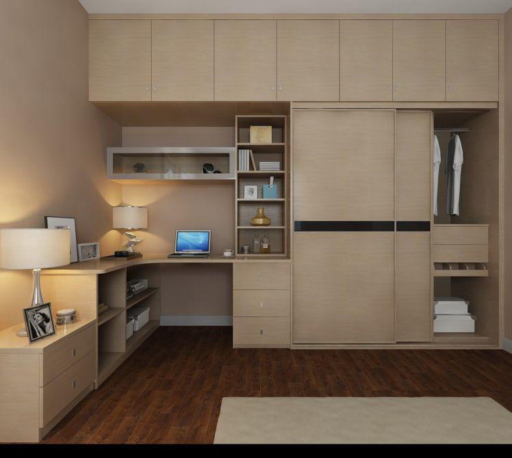 利用卧室的转角位,定制l型综合衣柜一体,节省空间,同时也省去了买书桌图片