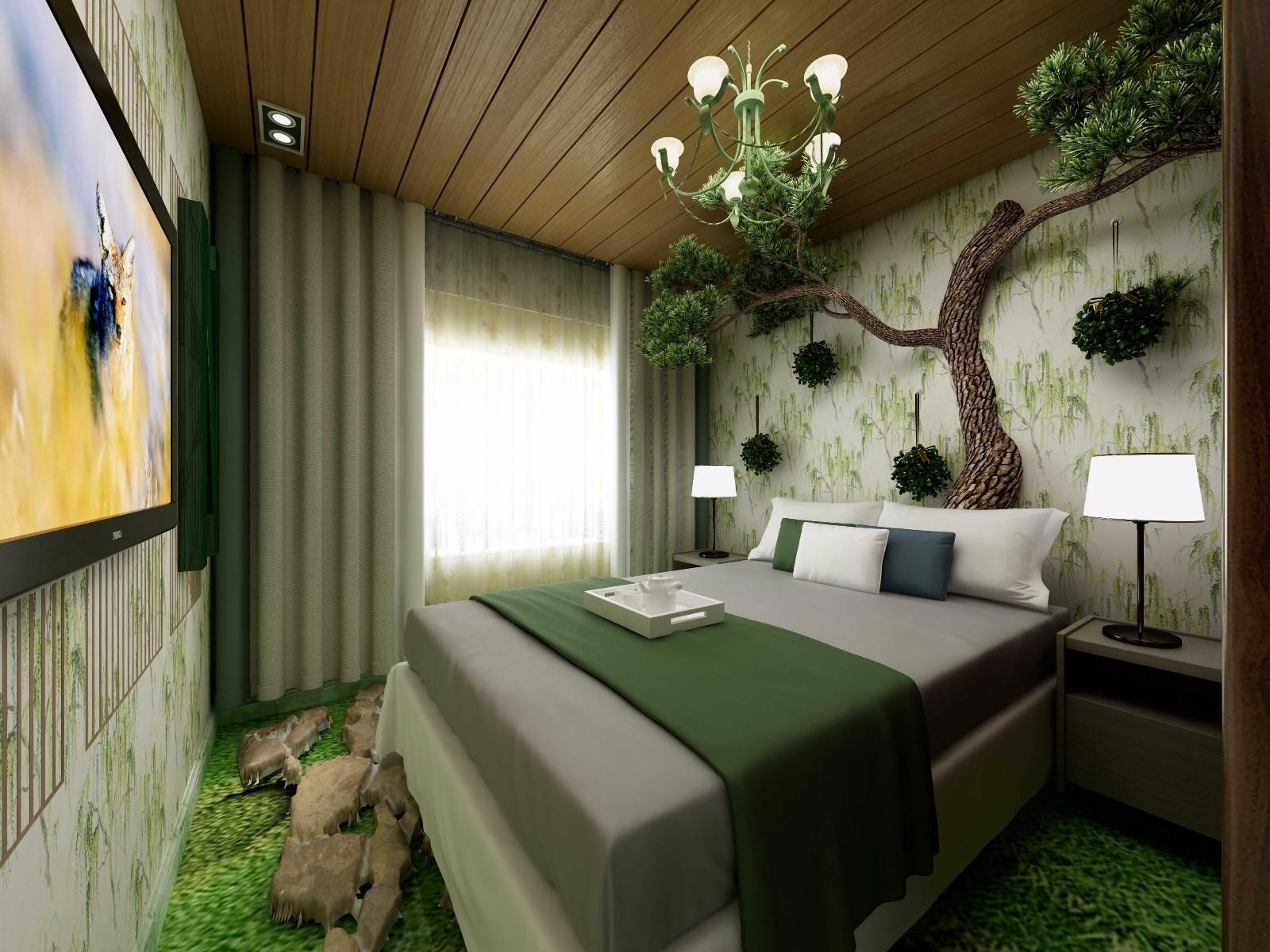 装修效果图,82方混搭森林系装修案例效果图-齐家装修网
