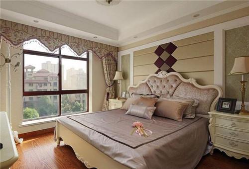 奢华大气的欧式大床搭配精致的床头软包和精美的窗帘,这些都把客房图片