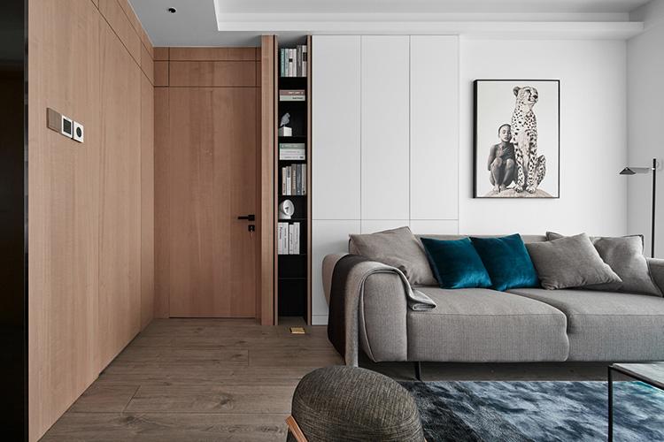 北欧极简文艺两居室实木玄关图片
