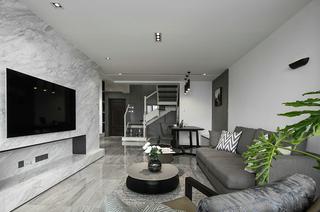 黑白灰格调别墅装修布艺沙发图片