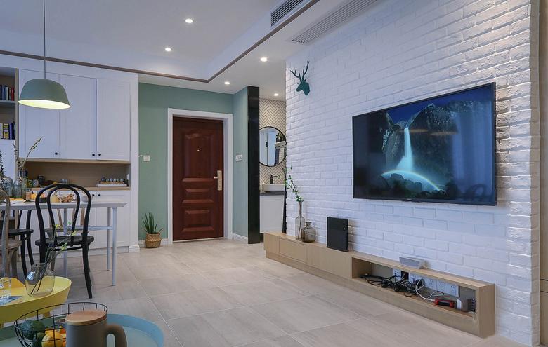 90平北欧风白领公寓电视背景墙图片