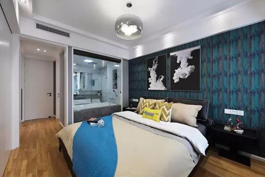 装修设计 上海装修 上海装修案例 轻奢港式   主卧床头以深色壁纸普通图片